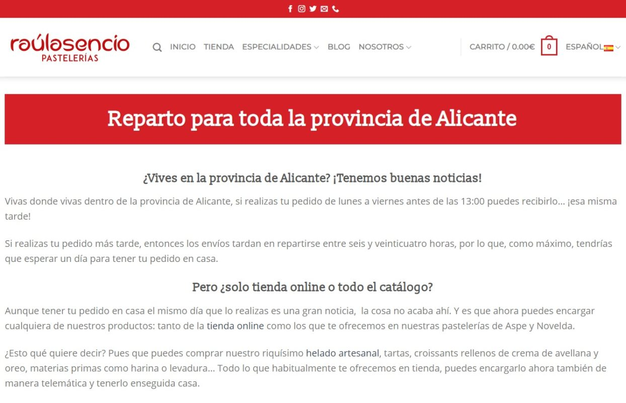 repartos Alicante - Raúl Asencio Pastelerías